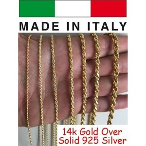 Harlembling14k Gold 925 Sterling Silver Rope Chain
